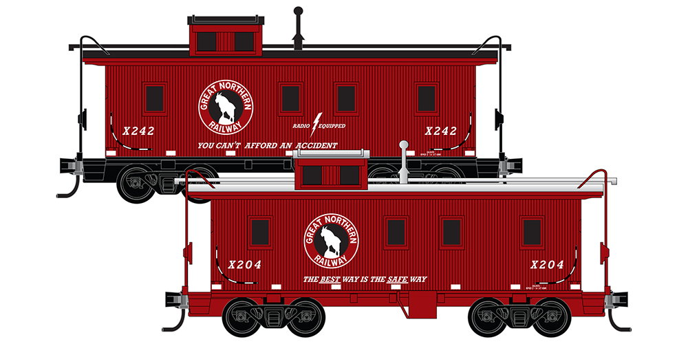 Micro-Trains 34ft Wood Sheathed Caboose, with Straight Cupola Great Northern 2-Pack