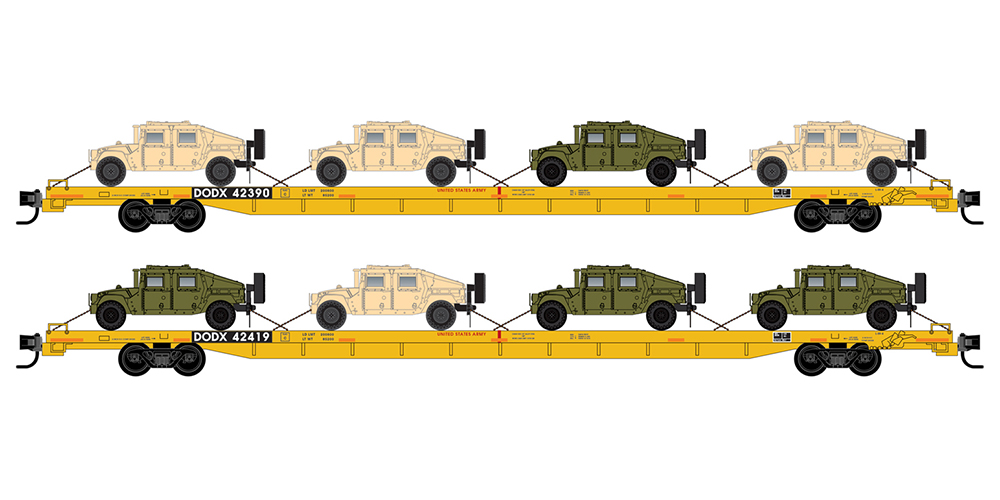 Micro-Trains 89 Ft DODX 2-Pack with 8 Humvee Vehicles